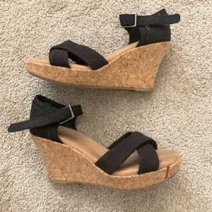 Black fabric and cork wedges
